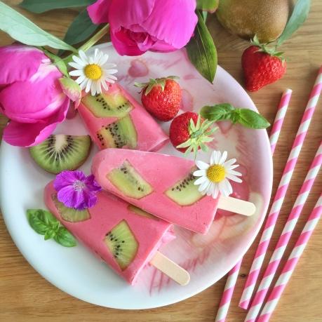 Glace fraises -kiwi