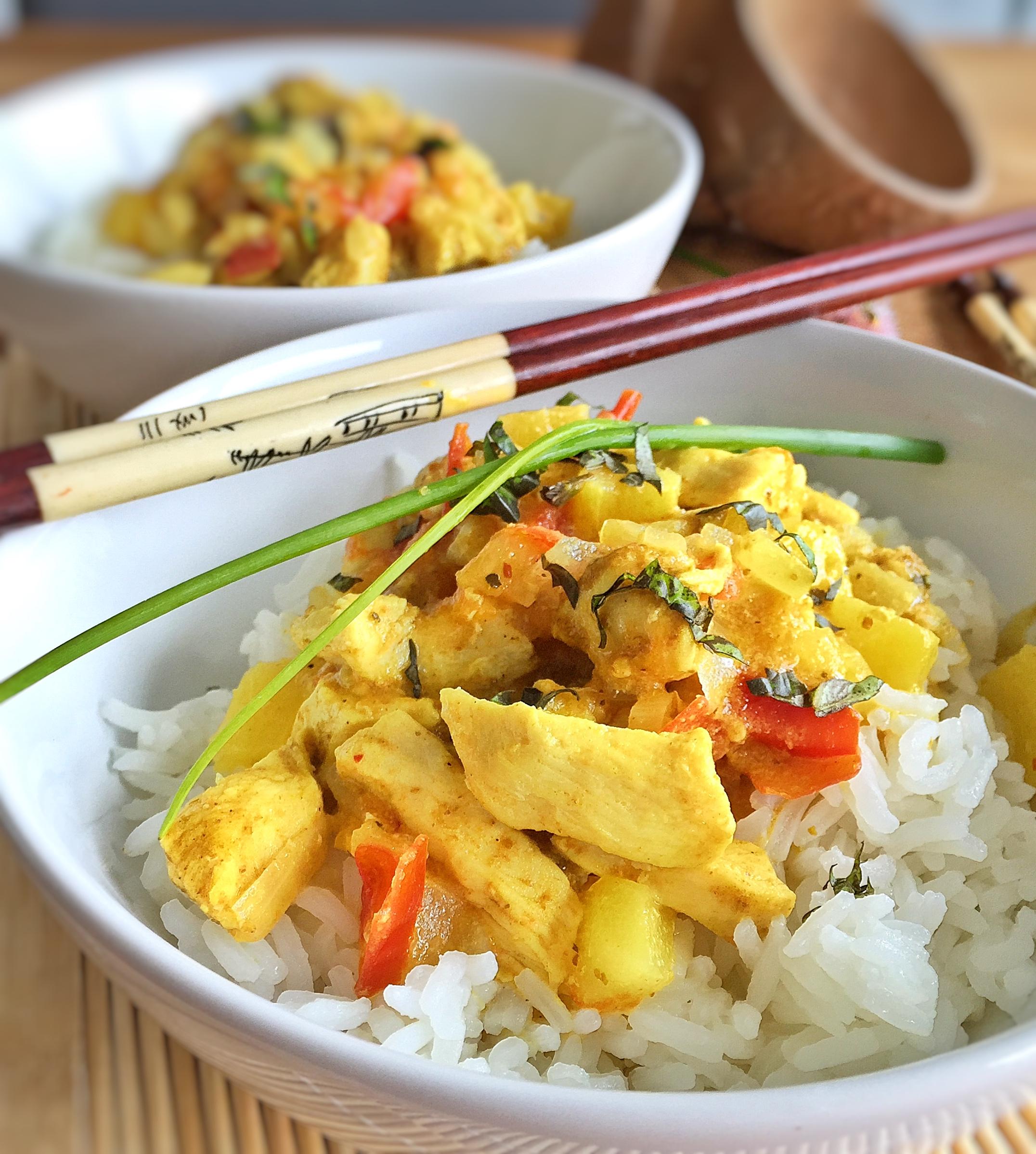 curry poulet ananas au lait de coco et riz basmati les recettes de misa. Black Bedroom Furniture Sets. Home Design Ideas