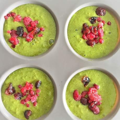 Muffins au Thé Matcha et coeur framboise